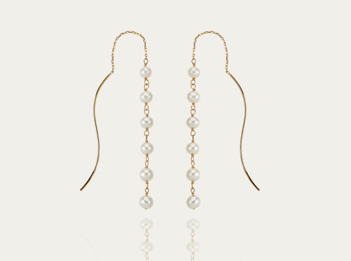 Gold Earrings with Seed Pearls