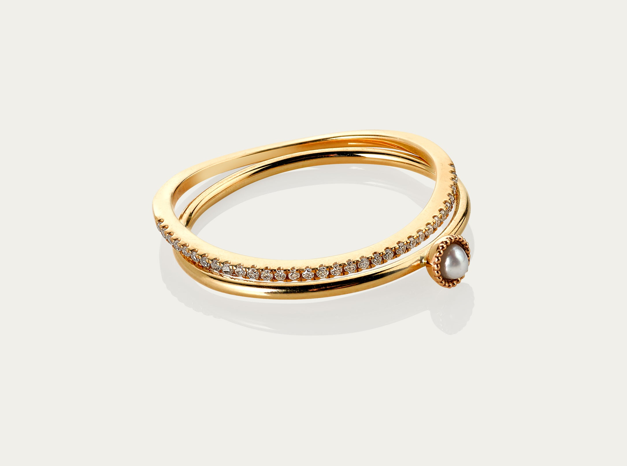 diamond ring 18K yellow gold seed pearl
