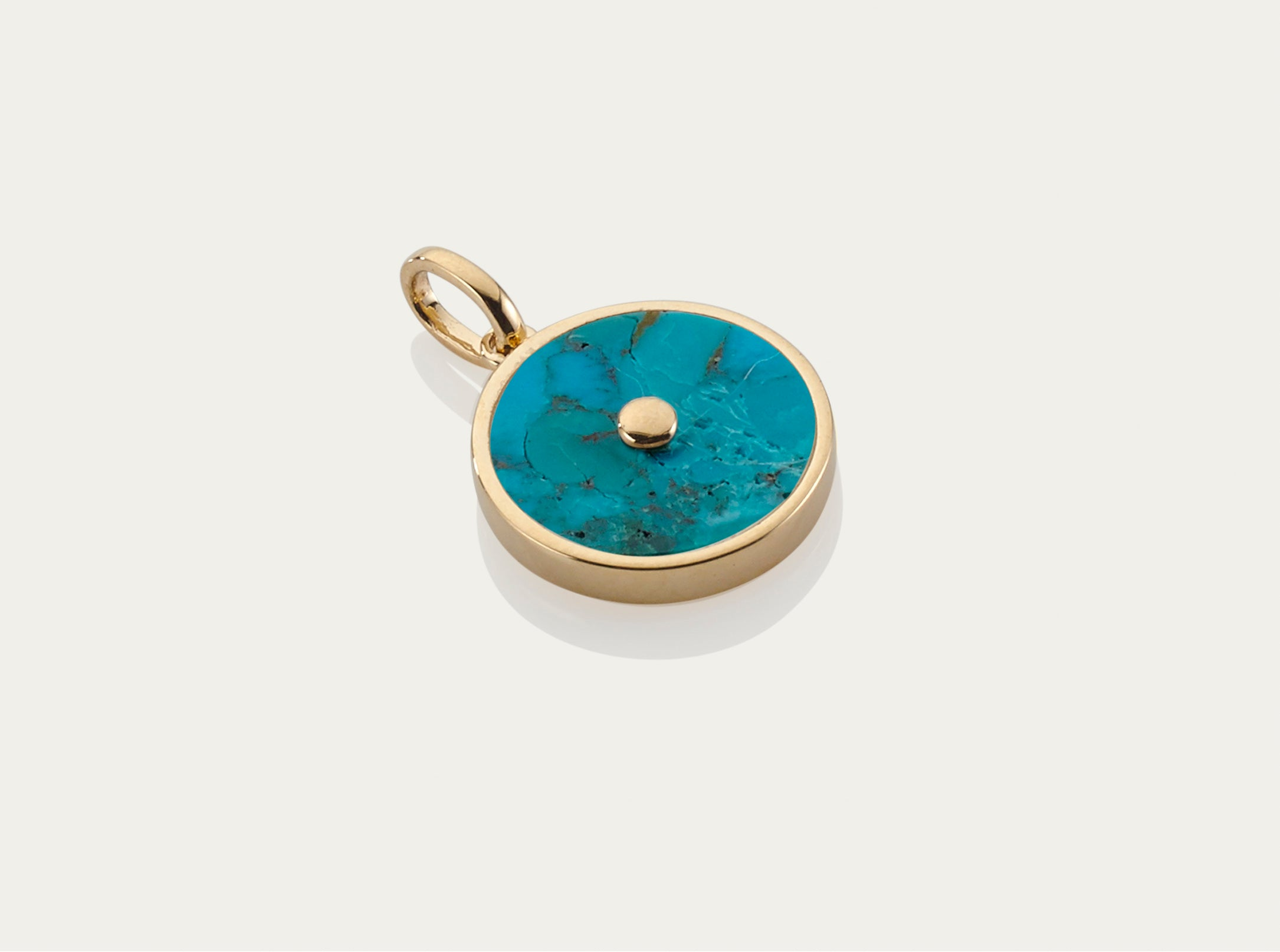 Blue Turquoise with Diamond Button Pendant