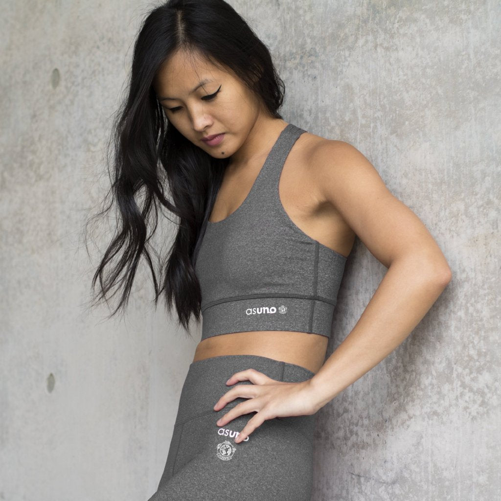Asuno UK Ethical Activewear Gym Fitness Embrace Sports Bra Heather Grey