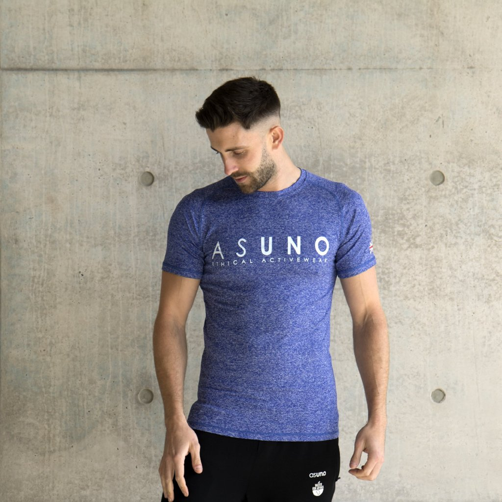 Asuno UK Ethical Activewear Gym Fitness Empower Tshirt Blue