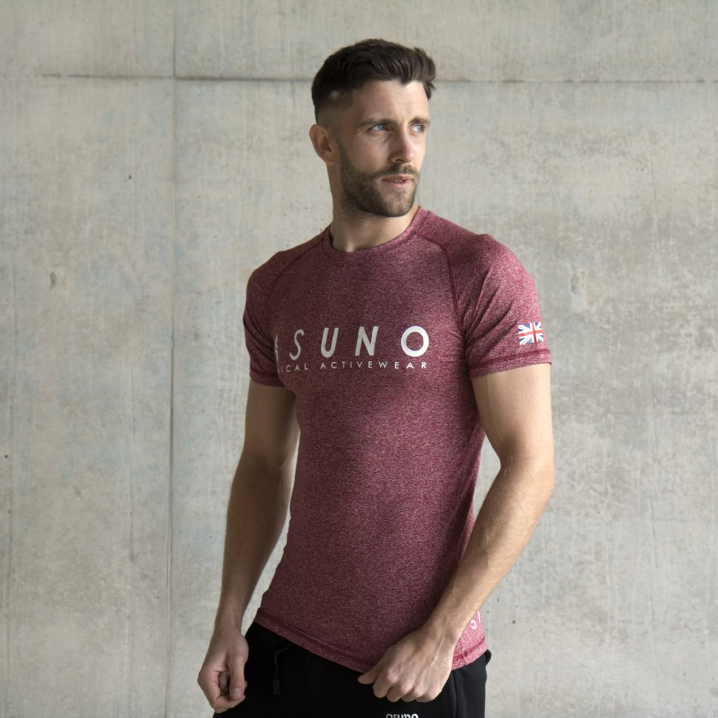 Asuno UK Ethical Activewear Gym Fitness Empower Tshirt Burgundy
