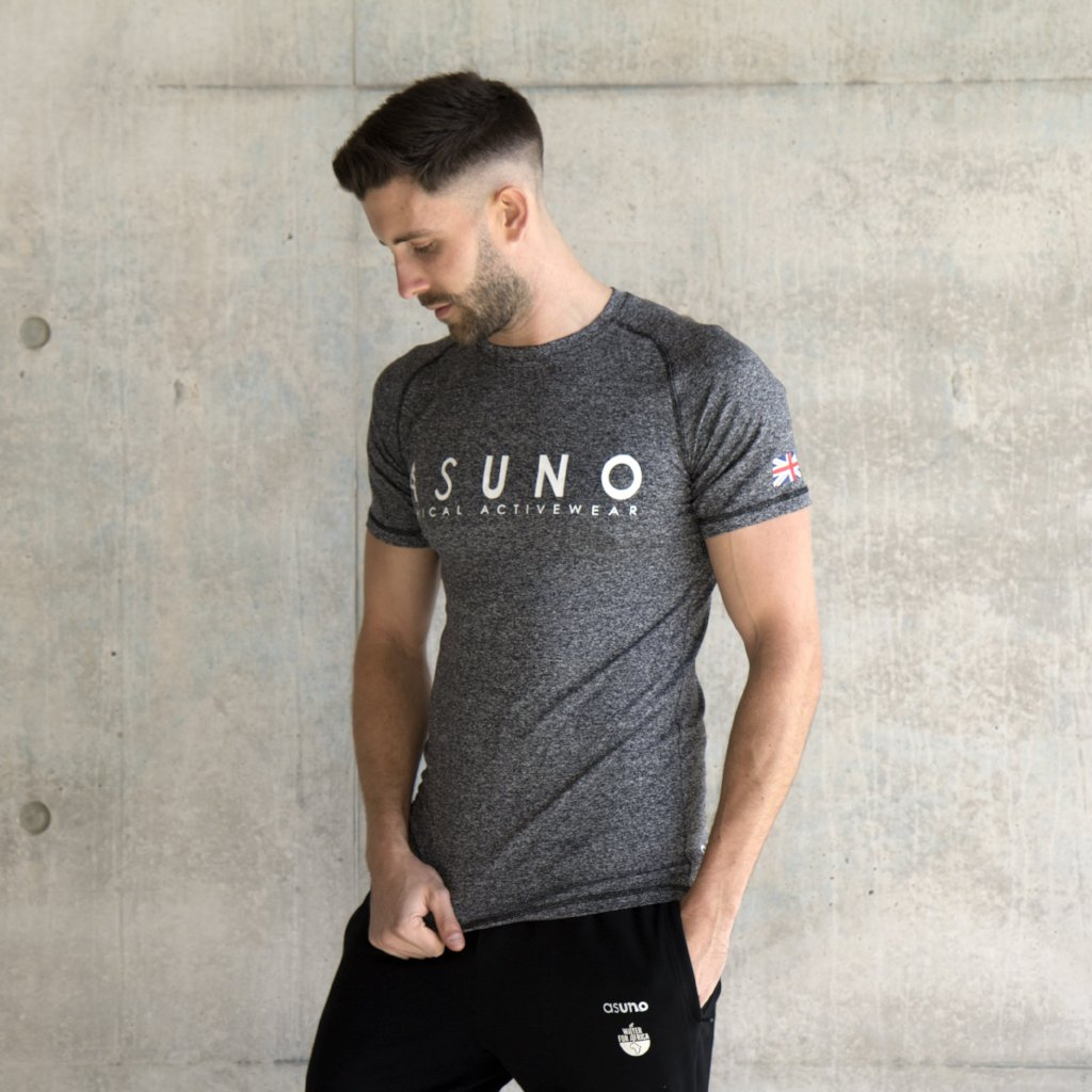 Asuno UK Ethical Activewear Gym Fitness Empower Tshirt Grey