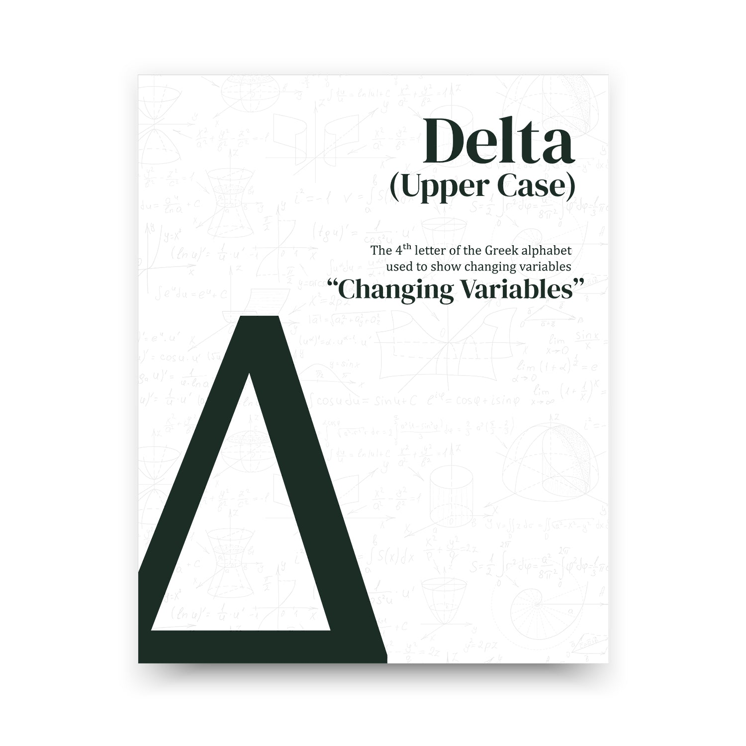 Delta Upper Case - White Mathematical Poster