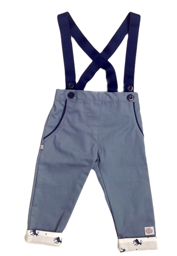 Navy Boys Playsuit with Cuff Detail