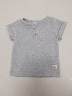 Henley Collar  Plain Tee - Light Grey Melange