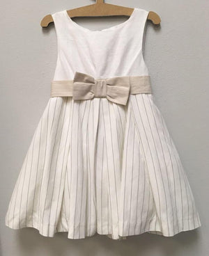Stripe linen dress + Bow - Razberry Kids Co