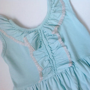 Mint cotton dress with lace - Razberry Kids Co