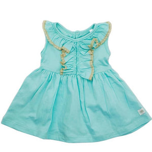 Aqua cotton knit dress with lace - Razberry Kids Co