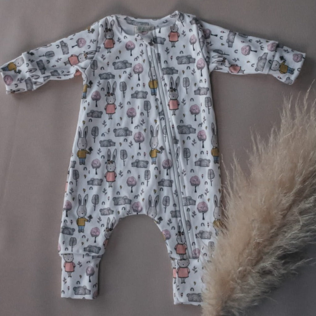 Long Sleeve Zip Onesie Bunnie Print + Beanie Set