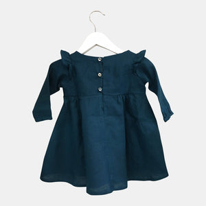 Teal Linen long sleeve dress with frills - Razberry Kids Co