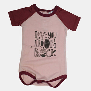 Love you to the moon and back  - maroon blush popper vest short sleeve - Baba Fishees - Razberry Kids Co