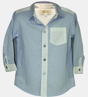 Boys Blue & White Colourblock shirt - Razberry Kids Co