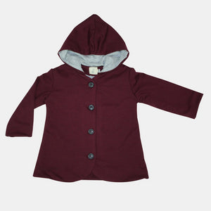 Burgundy Knit Hooded Coat + Grey lining - Razberry Kids Co