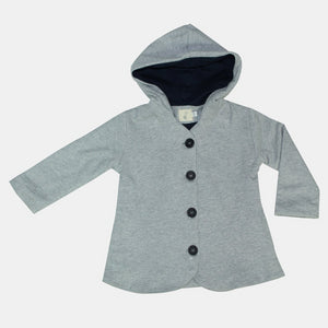 Grey Knit Hooded Coat + Navy lining - Razberry Kids Co