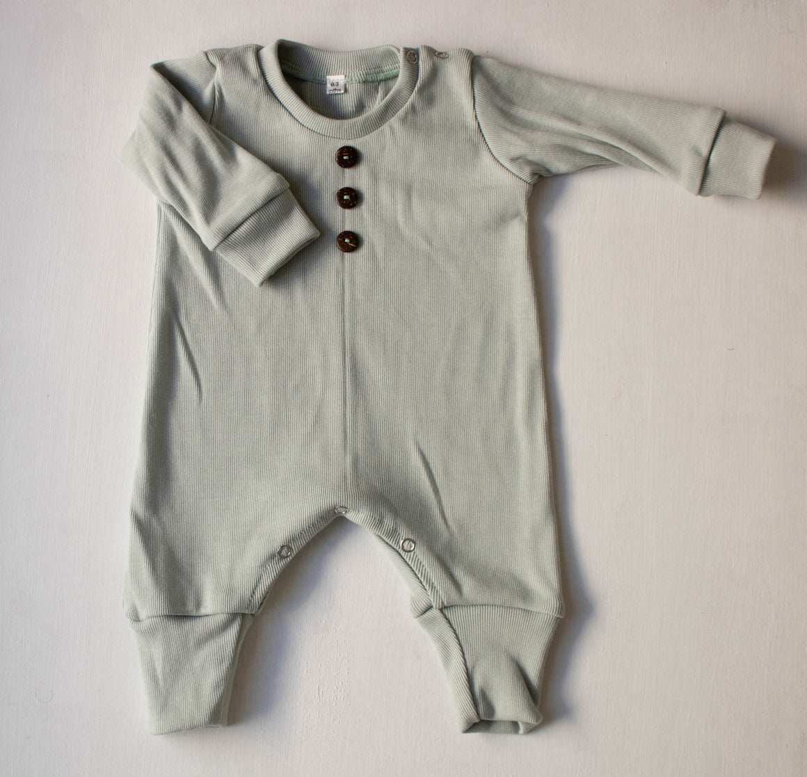 Rib Romper - Long Sleeved Baby Romper - 100% Cotton