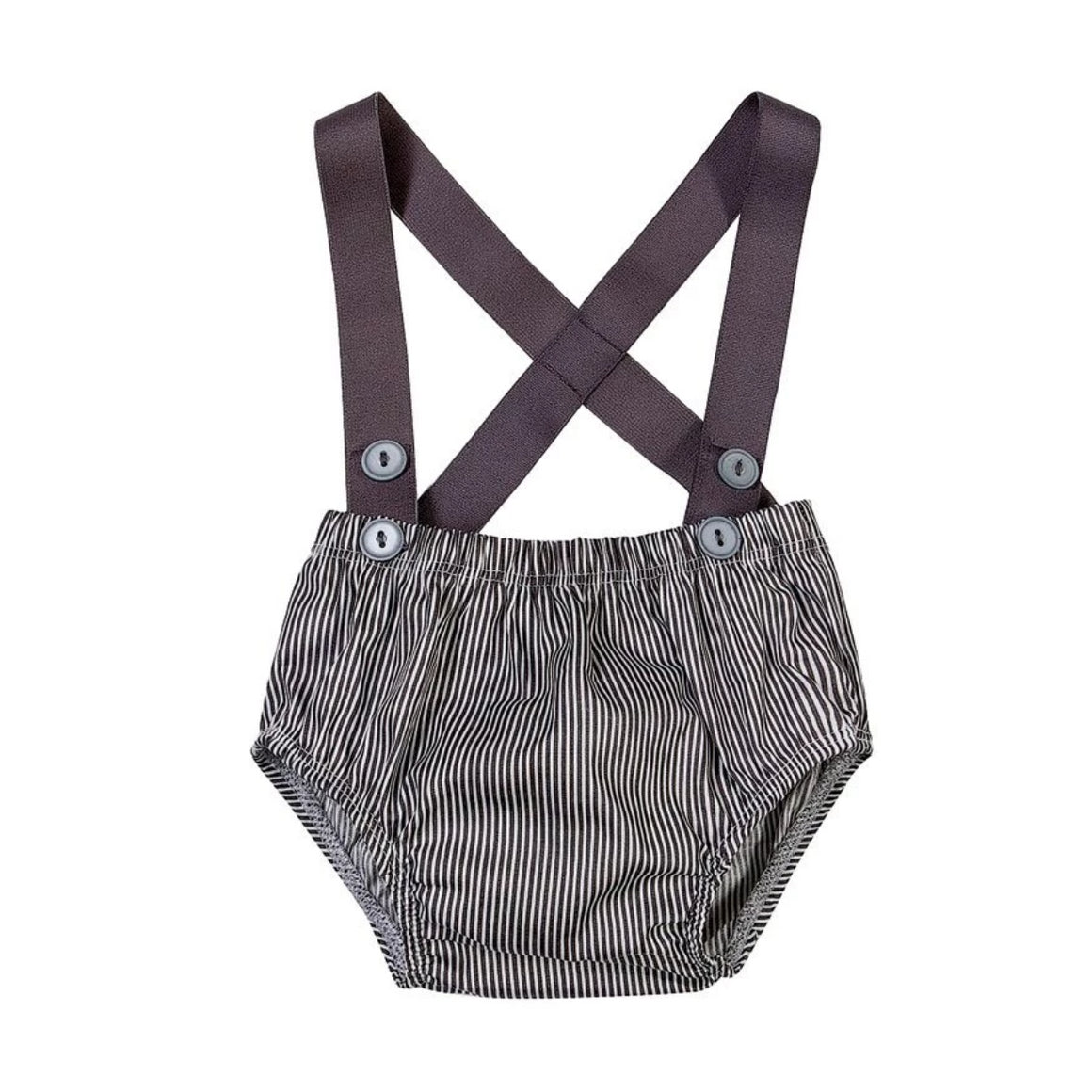 Charcoal & White stripe Boys Playsuit - Razberry Kids Co