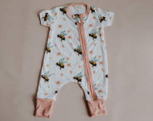 Short Sleeved Zip Onesies --- Pink Bees