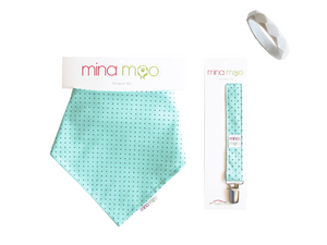Mina Moo Dribble Bib & Dummy Clip Set - Razberry Kids Co