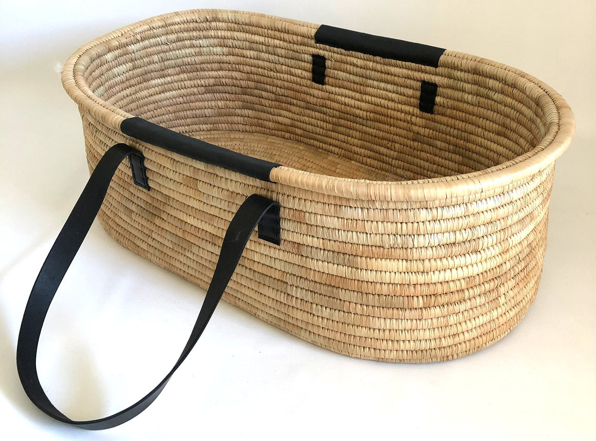 Moses Basket Timeless Collection - Leather Handles