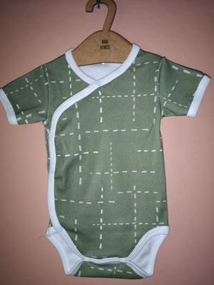 Wrap Onesie - S/Sleeve Green Dash - Baba Fishees