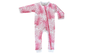 Pink Leaf Baby Grow - Razberry Kids Co
