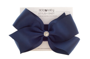Double Bow with Rhinestone on Fabric Headband - Razberry Kids Co