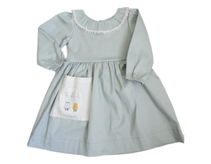 Cotton Sateen- duck egg winter dress. - Razberry Kids Co