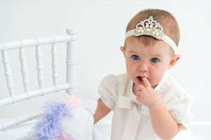 Princess Crown Diamante Pearls on Headband - Razberry Kids Co - Girls headband