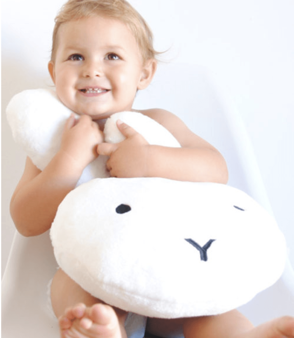 Bunny scatter cushion - white or grey - Razberry Kids Co