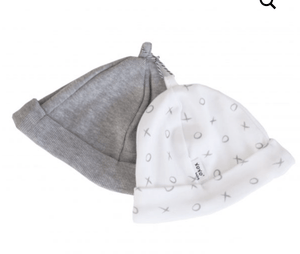 Baby Beanie set- grey / grey print XOXO (C) - Razberry Kids Co - Baby & Toddler Hats