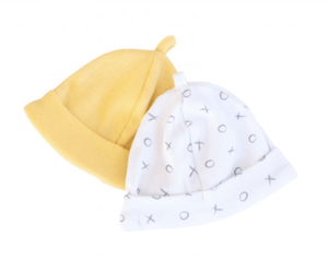 Beanie set- yellow/grey XOXO - Razberry Kids Co