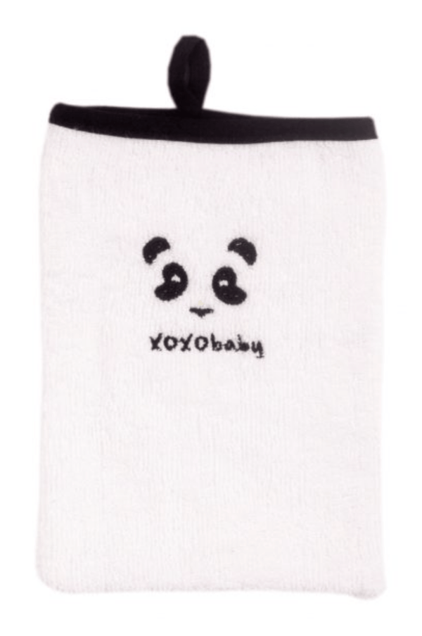 Bath Mitten - Black panda - Razberry Kids Co