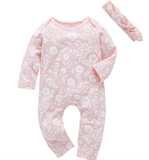 Pink baby grow with white flower - Razberry Kids Co