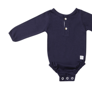Cotton Grandpa detail popper vest - navy - Razberry Kids Co