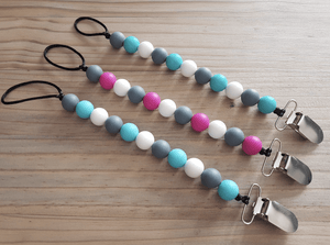 Silicon beads teething dummy chains - Razberry Kids Co