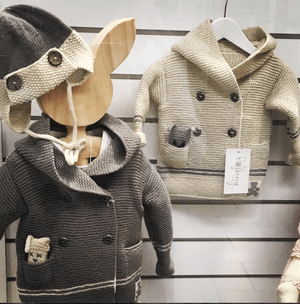 Chunky knitwear hoody + mini bear - Razberry Kids Co