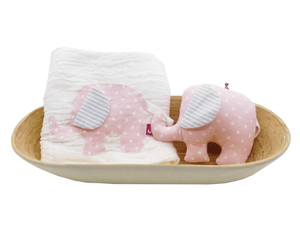Muslin & Rattle set- Elli - Razberry Kids Co
