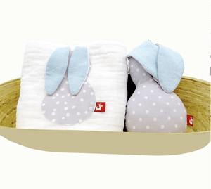 Muslin & Rattle set- BUNNY - Razberry Kids Co