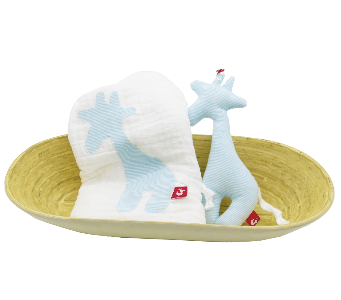 Muslin & Rattle Set - Giraffe - Razberry Kids Co