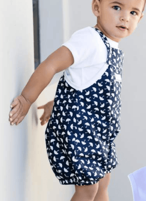Navy umbrella print dungarees - Razberry Kids Co
