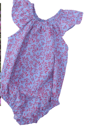 Coral & Blue floral Romper - Razberry Kids Co