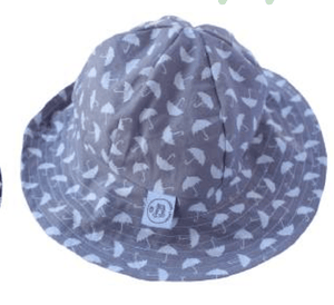 Grey Umbrella print hat - Razberry Kids Co