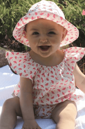Pink umbrella print Romper - Razberry Kids Co