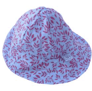 Blue/coral floral print hat - Razberry Kids Co