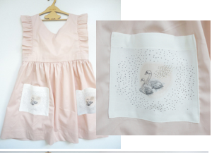 Pink Linen Dress- Swan pocket- CFC - Razberry Kids Co