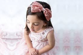 Girls Medium Sequin Bow on Elastic Headband - Rose Gold - Razberry Kids Co