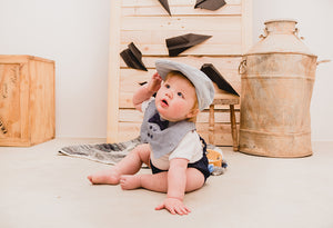 Whippety-y Newsboy Hats - Grey Linen - Razberry Kids Co