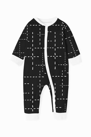 Baba Fishees Romper - Black with White Dashes Baby Romper