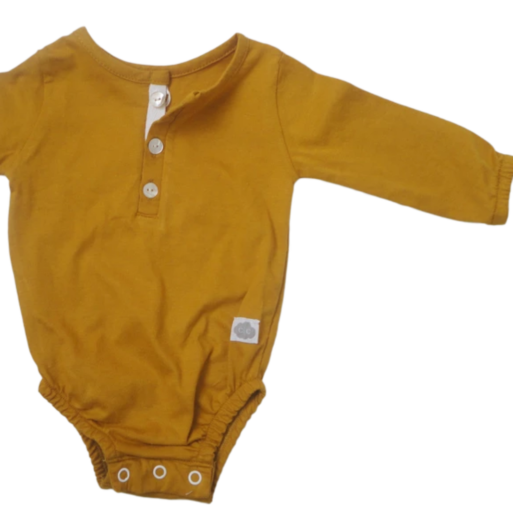 Cotton Grandpa detail popper vest - Mustard - Razberry Kids Co